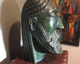 Vintage Modern Bronze Sculpture Head of Oedipus