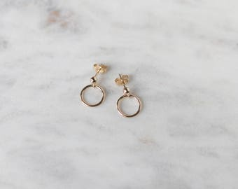 Gold Circle Stud Earrings - Tiny Hoop Earrings - Minimalist Earrings - Gold Filled Earrings - Small Gold Hoops - Gift for Her