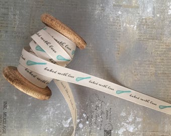Ribbon with 'Baked with love' Print, 15mm x 1m