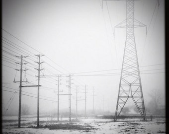 power line photo, fog photograph, fog photo, power lines, landscape photo, black white landscape, hydro, tower, electric, winter, Ontario