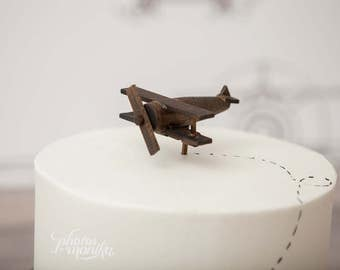 Airplane Cake Topper, Old-fashioned, Vintage Look Wood Toy Plane, smash the cake, overthetopcaketopper