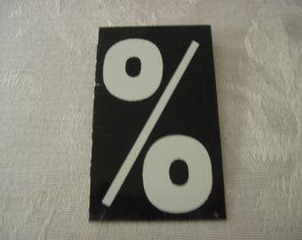 Vintage Sign Board Percent 2 1/2 Inches By 1 1/2 Inches