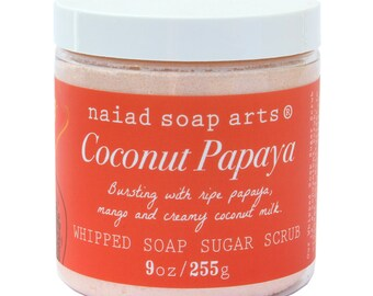 Coconut Papaya Whipped Soap Sugar Scrub - Vegan and Cruelty Free