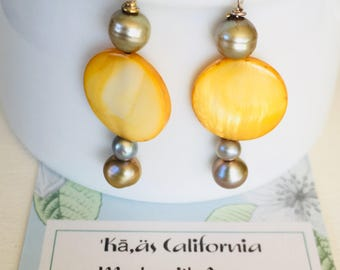Fresh Water Pearl with Yellow Mother of Pearl. Pearl earrings, gift box earrings, bridesmaids gifts, gifts for her, beach wedding, pearls