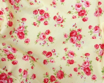 Vintage style lemon yellow red rose roses floral flower quality 100% cotton fabric Rose and Hubble dressmaking patchwork crafts X HALF METRE