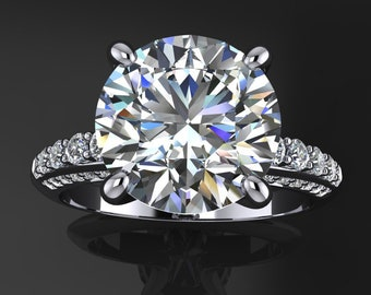 natasha ring - 3.6 carat diamond cut round NEO moissanite engagement ring