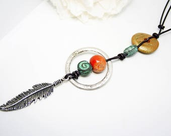 Feather Necklace Boho Chic Necklace Adjustable Necklace Hippy Necklace Summer Necklace Feather Pendant Necklace  Boho Leather Necklace