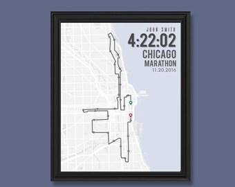 Chicago Marathon Print   Customizable   Running Wall Decor