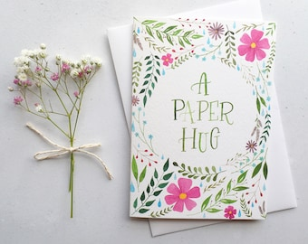 Thinking of you cards etsy uk a paper hug a6 greeting card watercolour painting thinking of you m4hsunfo