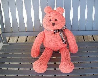 Bear,Bears,Stuffed Animals,Knit,Gift,Toys,Kids,Children,Collectors,Birthday,Girls,Teens,Seniors,Photo's,Peach