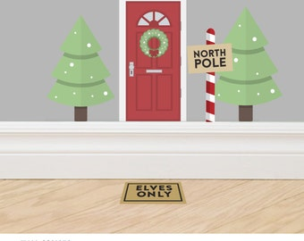Christmas Elf Door Accessory Set #2 - A set of three decals made from reusable vinyl