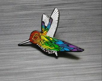 Raindow Hummingbird Enamel Lapel Pin - Hat Pin