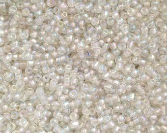 10 grams seed beads transparent white iridescent 2mm♥ ♥