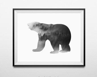 Bear Print, Bear Wall Art, Black Bear Art, Black Bear, Printable Bear Art, Black Bear Decor, Downloadable Art, Wall Print, Home Wall Decor