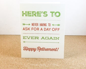 Retirement, Congratulations, DAY OFF Card - Digital Download or Print