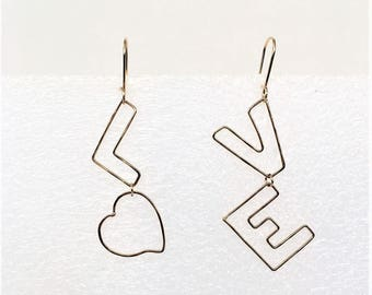 LOVE earrings with the heart shape for letter O in 14K Goldfill