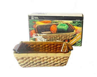 Anchor Hocking Basket Buffet 70s Glass Casserole Ovenproof Dish Harvest Amber Wicker Basket Baking Dish 1970s Glass Kitchenware
