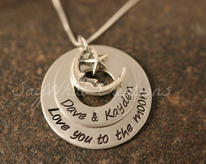 Sterling Silver Love You To The Moon 2 stacked washer necklace Custom Hand Stamped for Mothers or Grandmothers