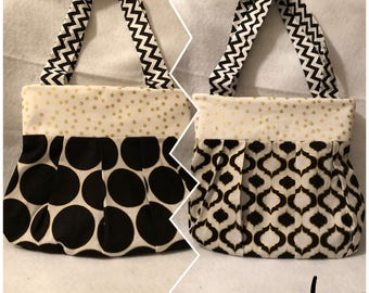 Cute, completely reversible, pleated tote bag-Monique bag