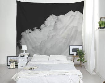 Clouds Tapestry,  Large Wall Decor, Black And White, Sky Tapestry, Nature Photography