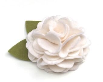 White Felt Dog Collar Flower