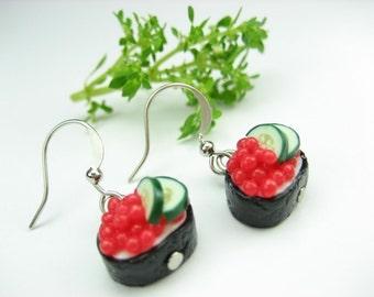 Ikura Sushi Earrings - food jewelry, roe, Japanese, sushi, food earrings, sushi jewelry, unique gifts, gift for her, red earrings, black