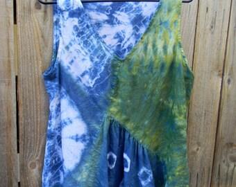 Shibori Dyed Linen Assymetrical Upcycled Summer Blouse Ladie's Size Medium