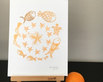 Mandala print under the sea motifs made with hand carved stamps