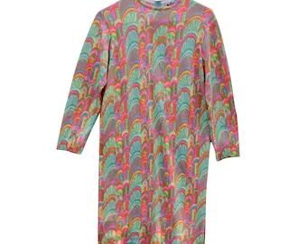 60's, Psychedelic, Mod, Hippie, Rainbow, Strawberry, Dress, Mirsa, Italy, Twiggy, Neon, Kawaii, Rare, Vintage, Trippy, Pink, Green, Yellow