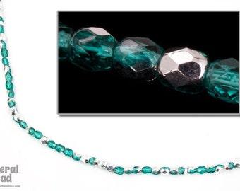 3mm Blue Zircon/Silver Fire Polished Bead (50 Pcs)  #FPX194