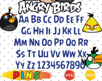 Angry Birds font svg,dxf/Angry Birds alphabet /Angry Birds letters for Design,Print,Silhouette, Cricut
