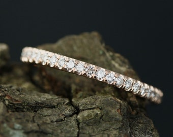 0.23 Carats Diamond Sally 14k Rose Gold Diamond Half Eternity Matching Band Promise Band Wedding Ring ( Other Metals Available)