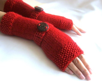 Red LONG Fingerless Gloves, Merino Wool Mittens, Arm Warmers , Hand Knitted, Eco Friendly
