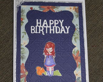Happy Birthday Girl and Squirrel Handmade Card Blank inside