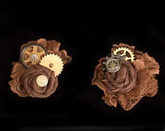 Brown and Brass Steampunk Wedding Fascinator- Steampunk Hat Clips- Steampunk Hair Clip- Steampunk Gift- Steampunk Costume Accessories