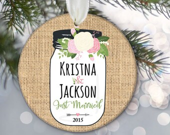 """Floral Mason Jar Personalized Christmas Ornament """"Just Engaged"""" or """"Just Married"""" Rustic Burlap Ornament Newlywed Gift Wedding Gift OR516"""