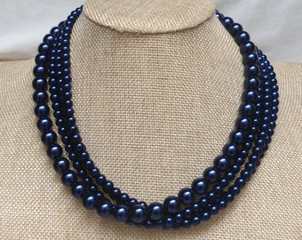 Navy Blue pearl Necklaces, Wedding necklace,18 Inches Necklace, 4 Strands bead  Necklace,Wedding Jewelry,Glass pearl Necklace,pearl necklace