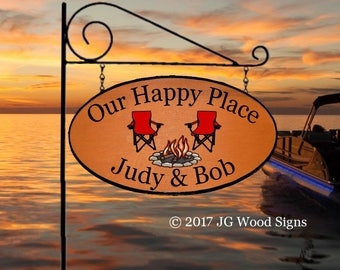 Personalized Sunset Sign Lake Beach Cabin Colored Campfire Camp Chairs w Sign Holder Option RV Family Name Sign Etsy JGWoodSigns JudyBob