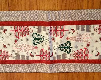 Colorful Christmas Trees Table Runner