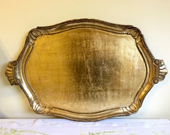 Vintage Gold Florentine Tray, Large Wood Serving Tray, Made in Italy, Tray with Handles