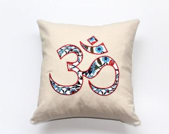 Om Pillow, Namaste, Ethnic Traditional Home Decor, Embroidered Pillow, Inspirational Pillow, Yoga Decor, Boho Pillow, Bohemian,