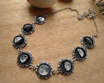 Moon necklace, moon phases, galaxy necklace, nebula necklace, moon phases necklace