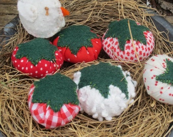 """TOMATO TOMATOE~ LiL CHICKEN~ MaDe To OrDeR~ Quilter~Sewing Gift~ Make do~ Vegan~ """"Lil Scrappers""""~Farmhouse Decor~ Chicken~  Farm~"""