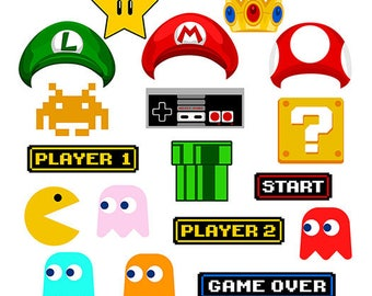 Gamer 90's digital photo booth party props instant download