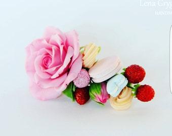macarons headband, roses barrette, macarons comb, bridesmaids comb, bride macarons, strawberry hairclip, bridal rustic, sweets comb
