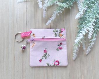 Pink Rose Ear Bud Case - Ear Bud Holder - Rose Earphone Case - Rose Coin Purse