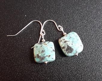 Sterling Silver Turquoise Jasper Earrings