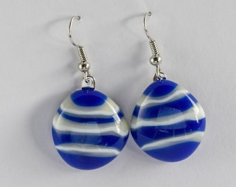 """Stunning, blue and vanilla creme fused stacked glass, dangle earrings. Glass is almost 1"""" diameter. Cute and stylish. #191"""