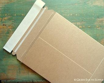 "7x9 Recycled Rigid Mailers: 10 kraft stay flat mailers, recycled rigid mailer, eco-friendly & recycled, kraft brown, 7""x9"" (178 x 229mm)"
