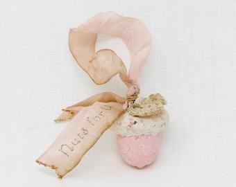 Valentine Handmade Pink Acorn Ornament